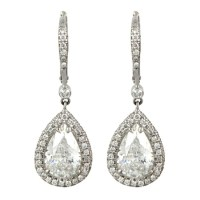 Pear Shaped Diamond Dangle Earrings