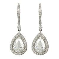 Pear Shaped Diamond Dangle Earrings