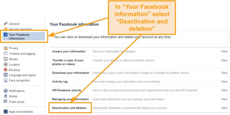 """Screenshot of """"Your Facebook information"""" tab highlighting """"Deactivation and deletion"""" option"""