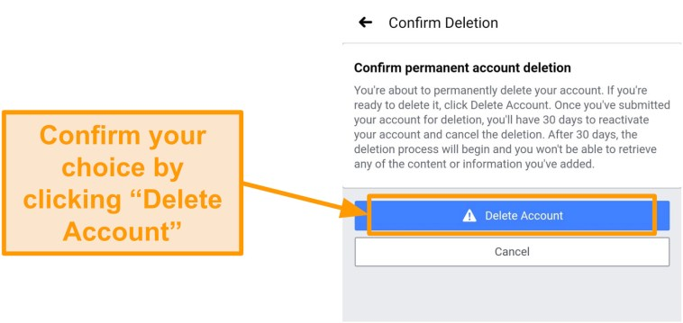 Screenshot of confirming account deletion on a phone