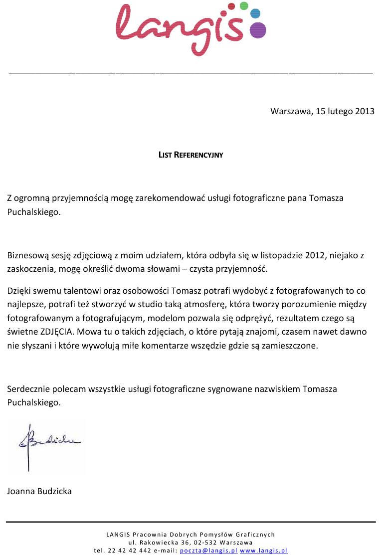 List referencyjny sesji biznesowej dla Langis