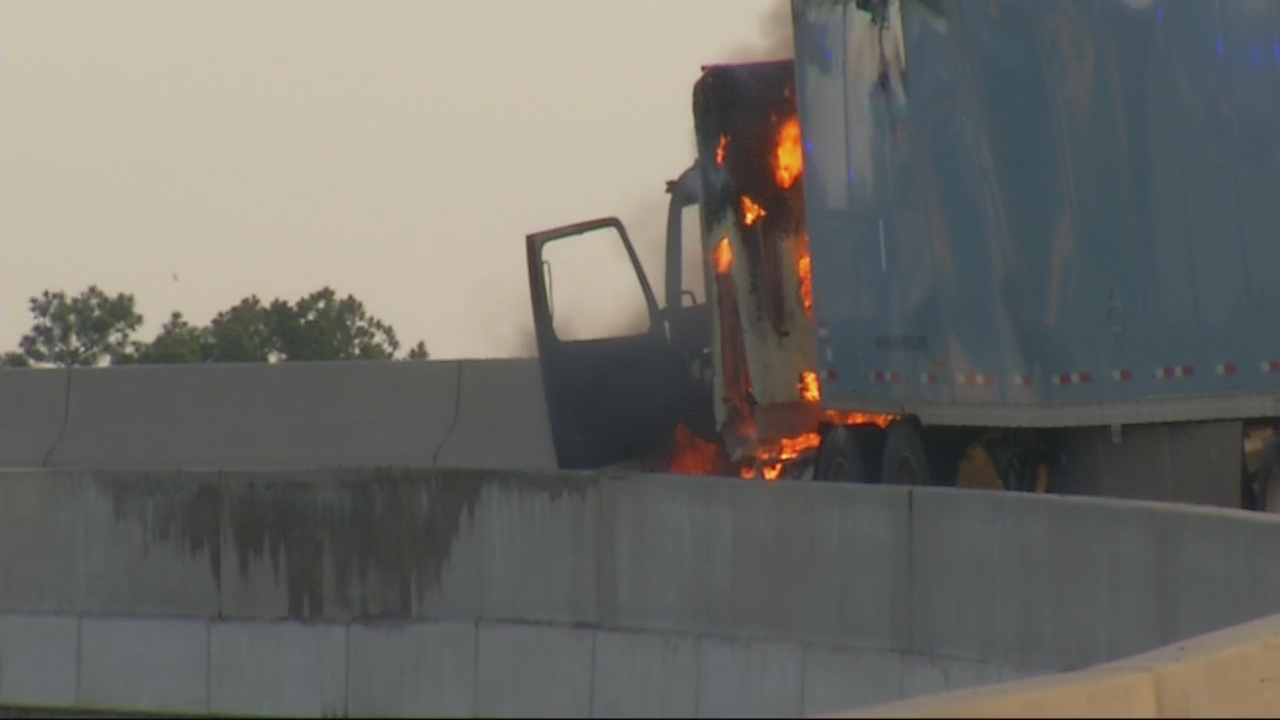 Tractor trailer fire on I-20 ramp
