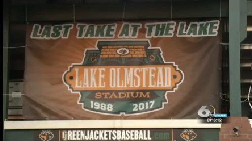 Banner commemorating final season at Lake Olmstead Stadium_261938