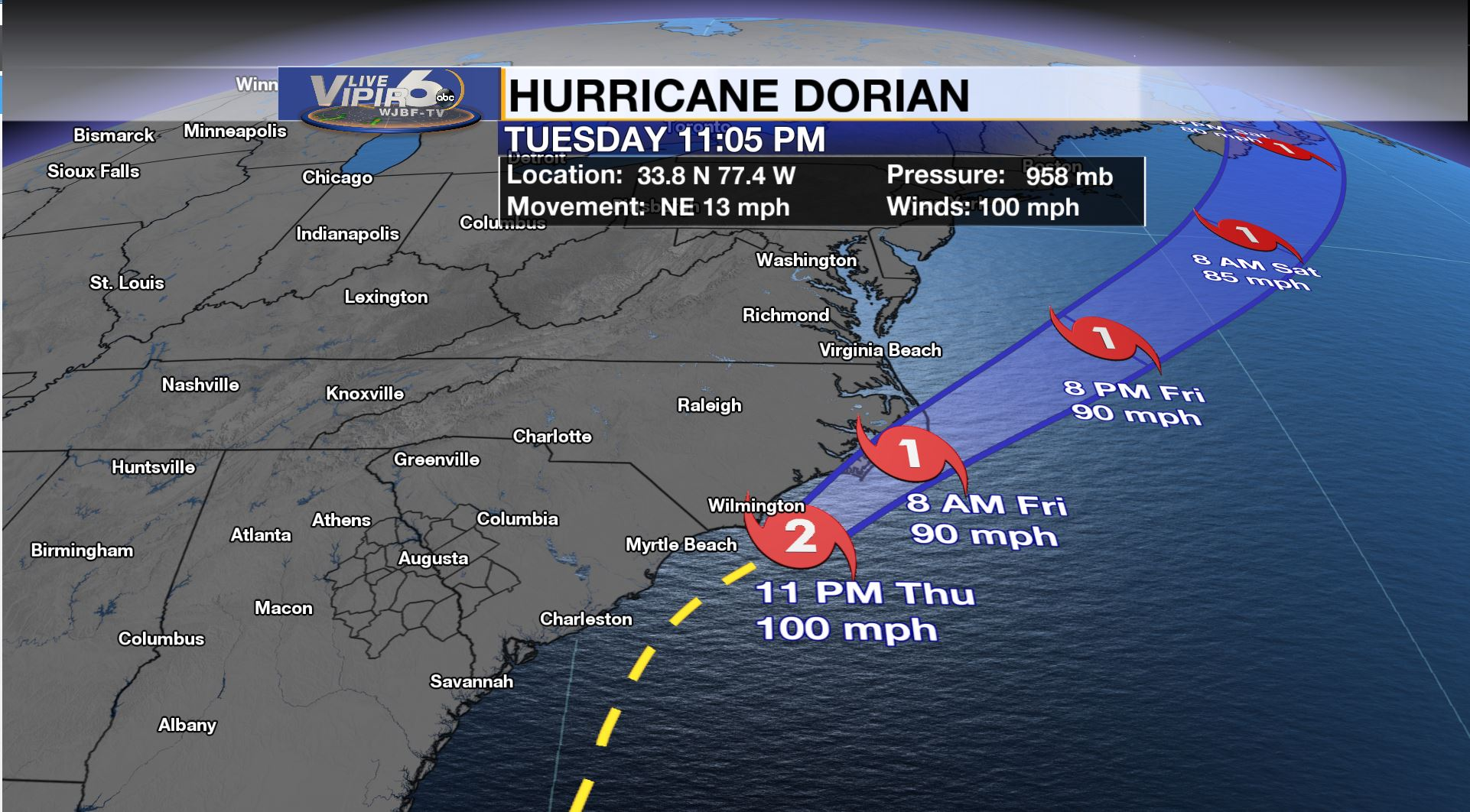 Hurricane Dorian's winds hold at 105mph | WJBF