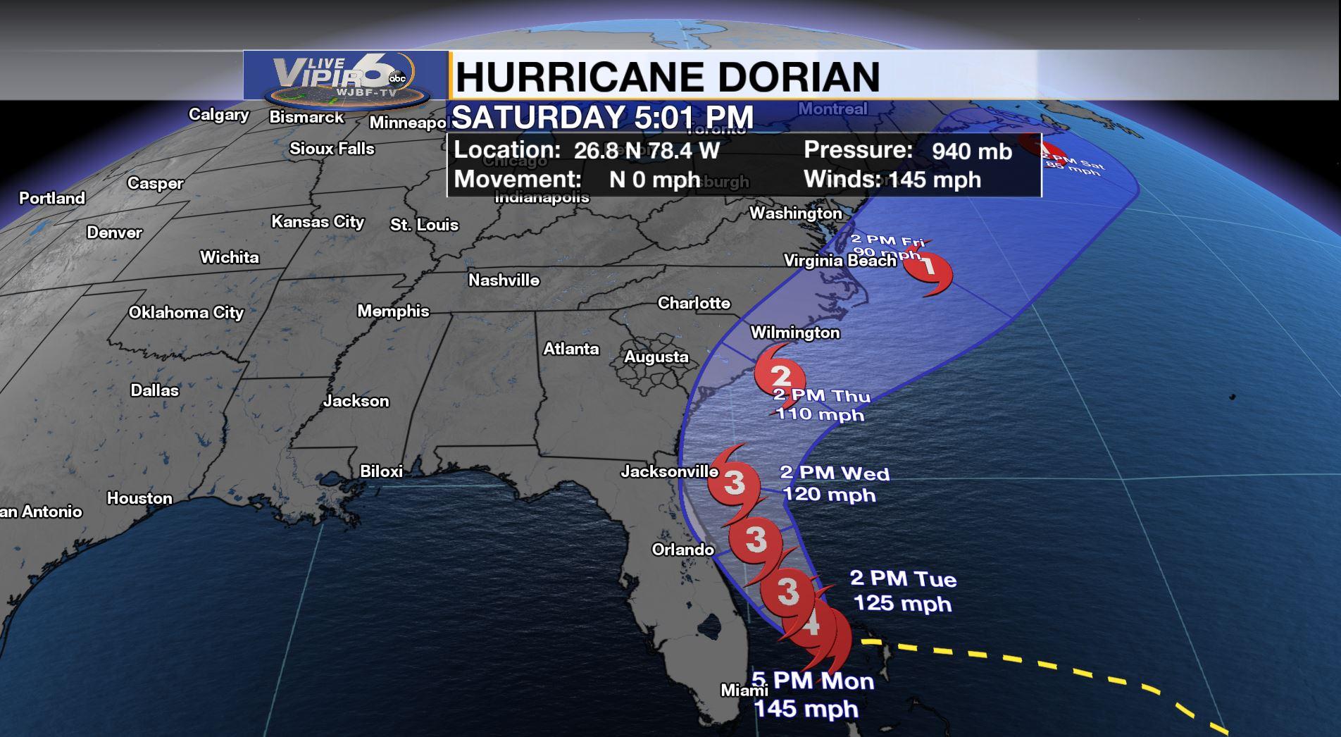 Dorian To Move Up The Florida, Georgia and South Carolina