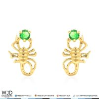 14K Yellow Gold Round Emerald Scorpion Screw Back Stud ...