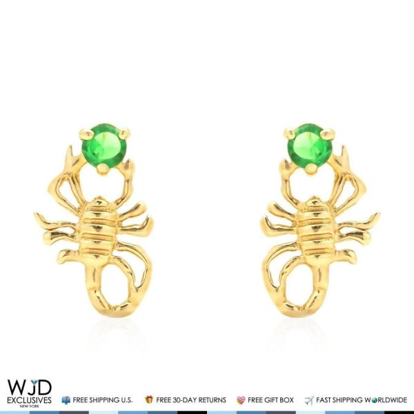 14k Yellow Gold Emerald Scorpion Screw Stud