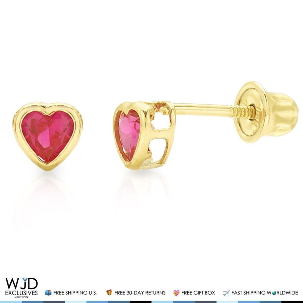 14K Solid Yellow Gold Heart Shaped Bezel Set Ruby