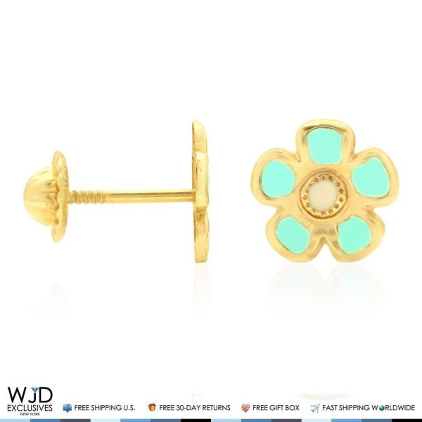 14k Solid Yellow Gold Green Enamel Flower Baby Screwback Stud Kids Earrings Wjd Exclusives
