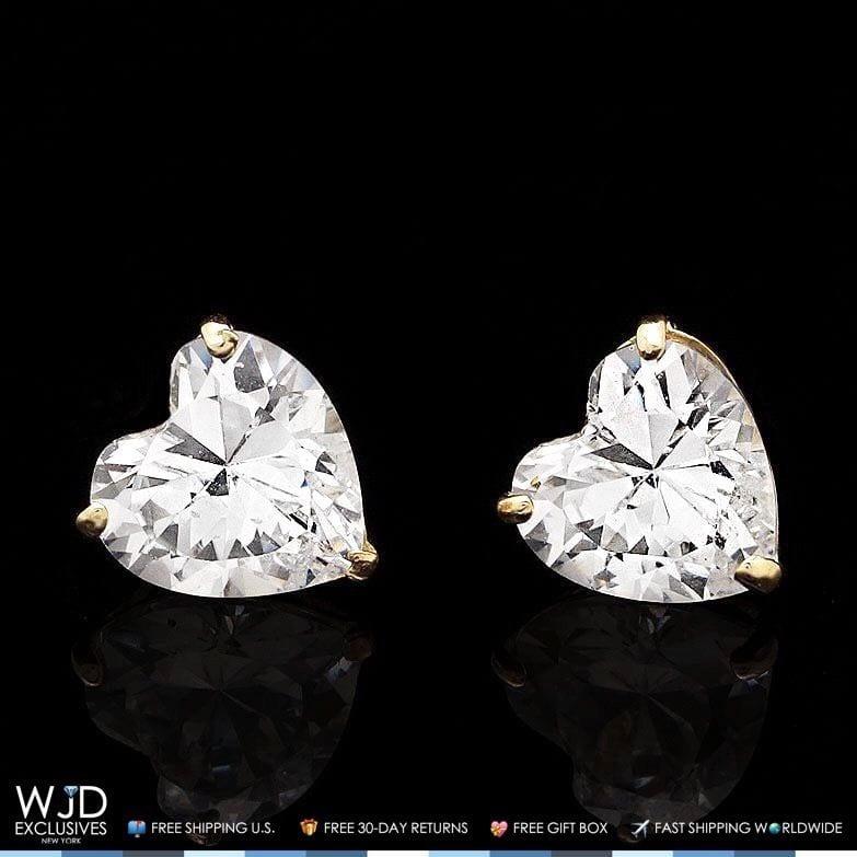 1Ct Created Diamond Heart Solid 14K Yellow Gold Stud Screw