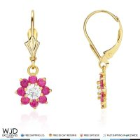 14K Solid Yellow Gold Diamond And Ruby Flower Dangle