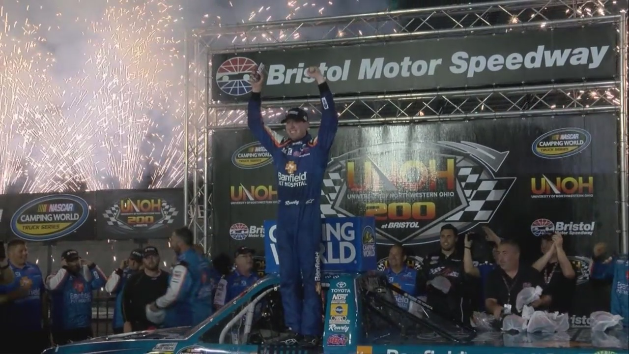 Kyle Busch comes from behind to win the UNOH 200 at BMS