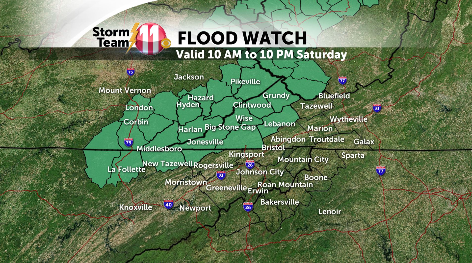 Mark's Weather Blog: Flood Watch for Saturday - Warming up