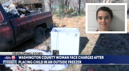 Washington County woman charged with child abuse after putting baby in unused freezer