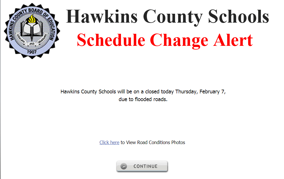 Hawkins County Schools closed today due to flooding