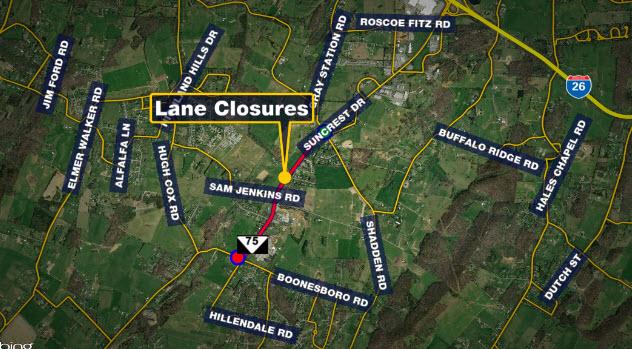 TRAFFIC ALERT: TDOT working State Route 75 this week, lane