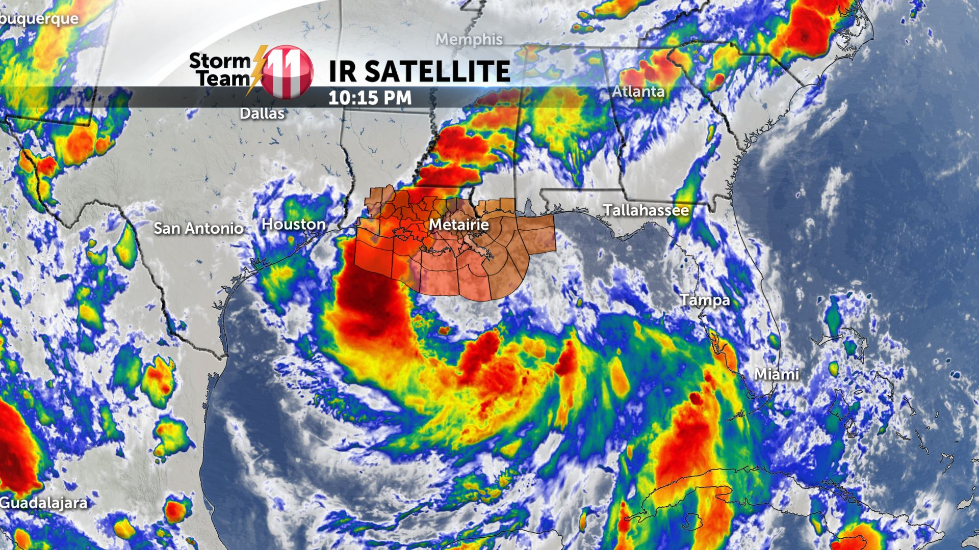 Tropical Storm Barry slowly moves towards the Louisiana Gulf