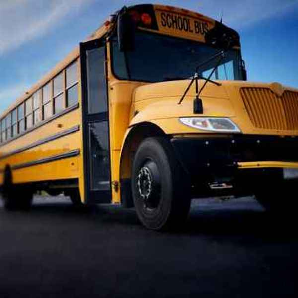 School bus front right view from low angle_1530647985971