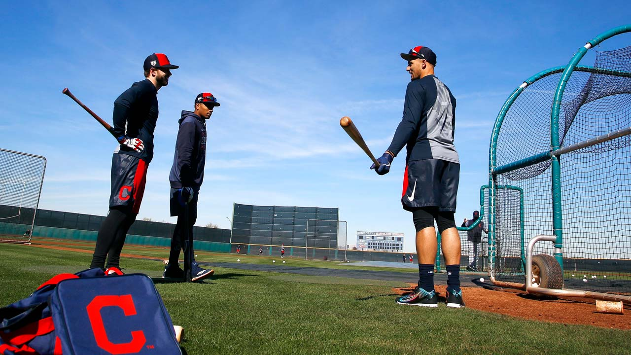 Cleveland Indians' Mike Freeman, Oscar Mercado, and Trayce Thompson
