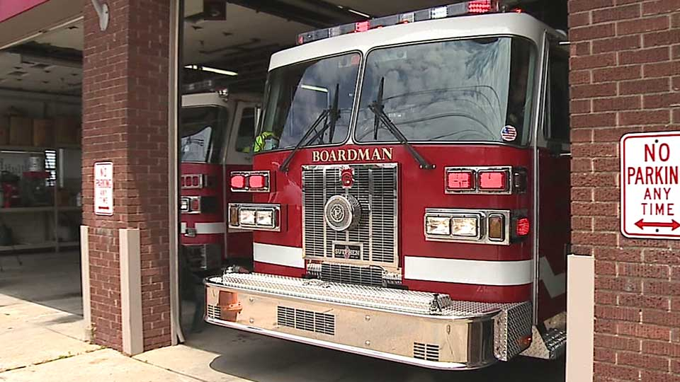 A fire truck at the Boardman Fire Department in Boardman, Ohio