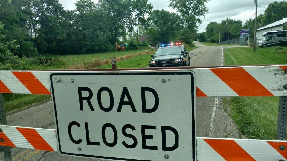 Road closure near Christland Hill Road for a fatal fire in Licking County.