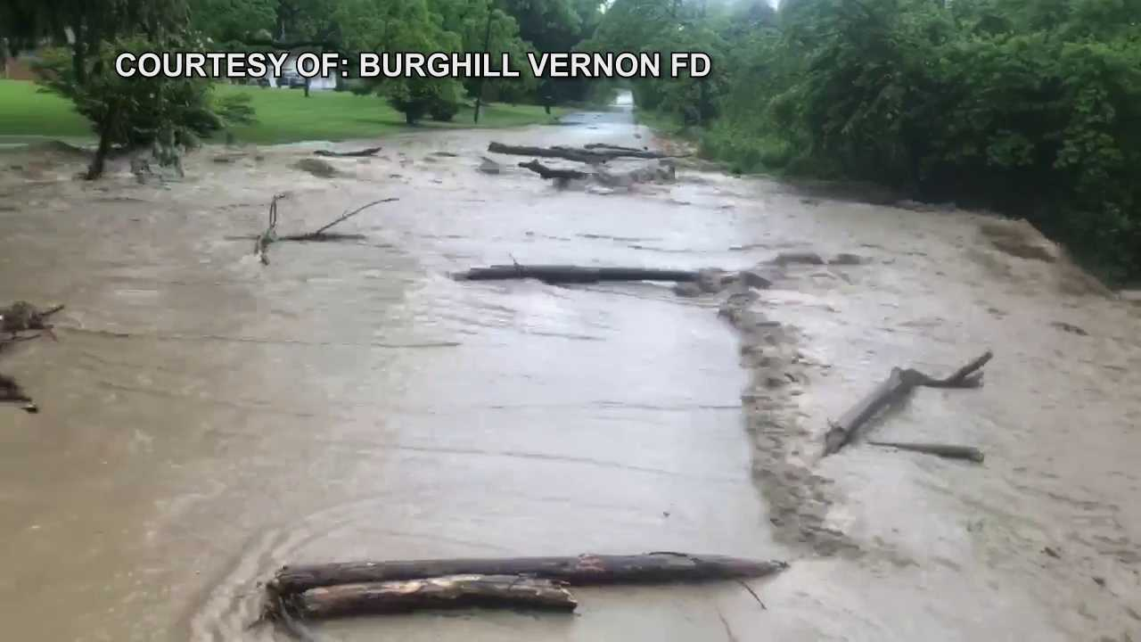 Flash flood closes Orangeville Kinsman Road in Vernon Township