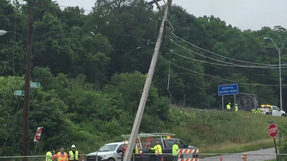 A crash on Marshall Street caused power lines to fall onto Interstate 680 nearby.