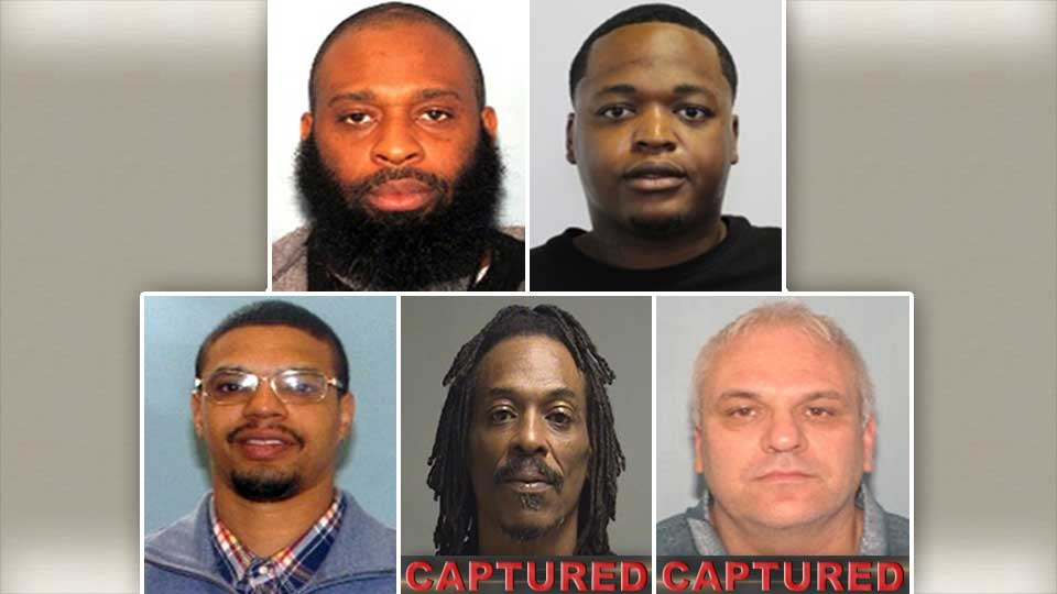 The Youngstown Area's Top 5 Most Wanted, Sean Bishop, Anthony Cleveland, Michael Triplett, Jr., Keith Black, David Yukon, two of which have been captured.