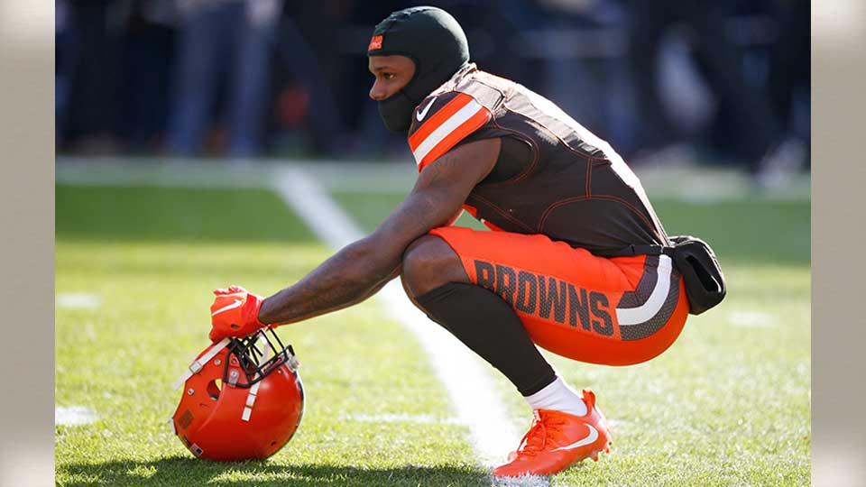 Cleveland Browns wide receiver Antonio Callaway watches during warmups before an NFL football game against the Atlanta Falcons, Sunday, Nov. 11, 2018, in Cleveland.