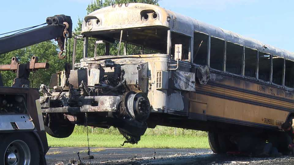 LaBrae school bus destroyed after catching fire