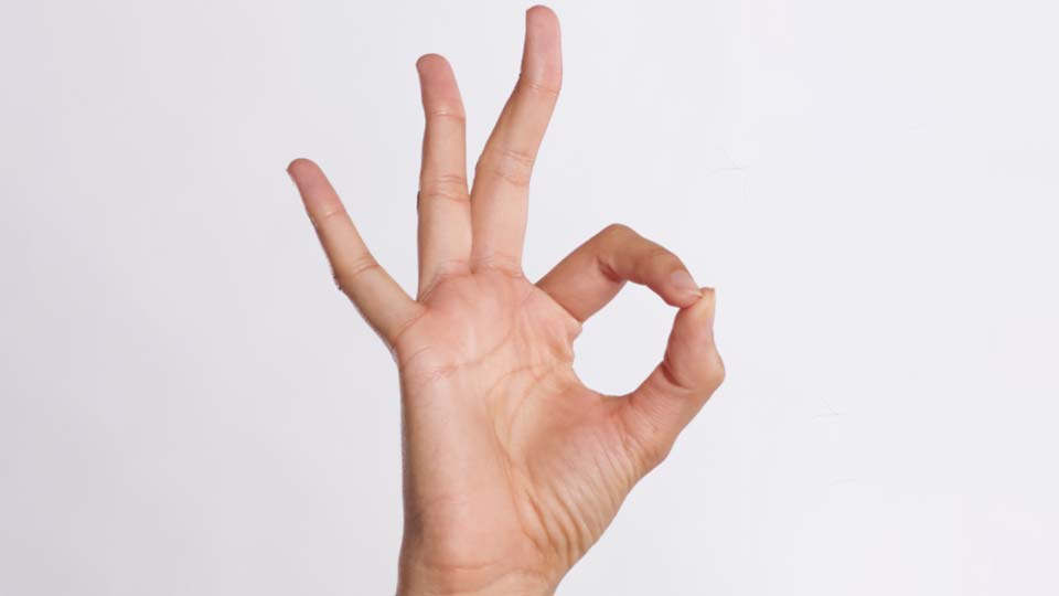 A hand giving the OK gesture.