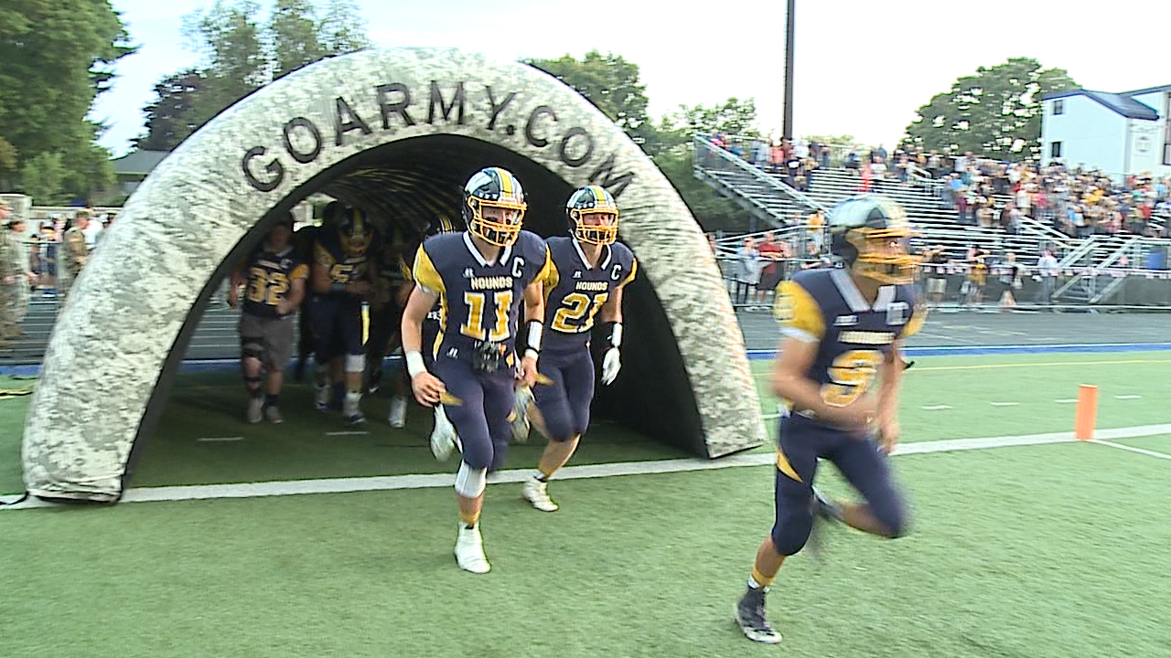 """The Greyhounds made the home fans proud on """"Salute to Service Night"""" in New Wilmington."""