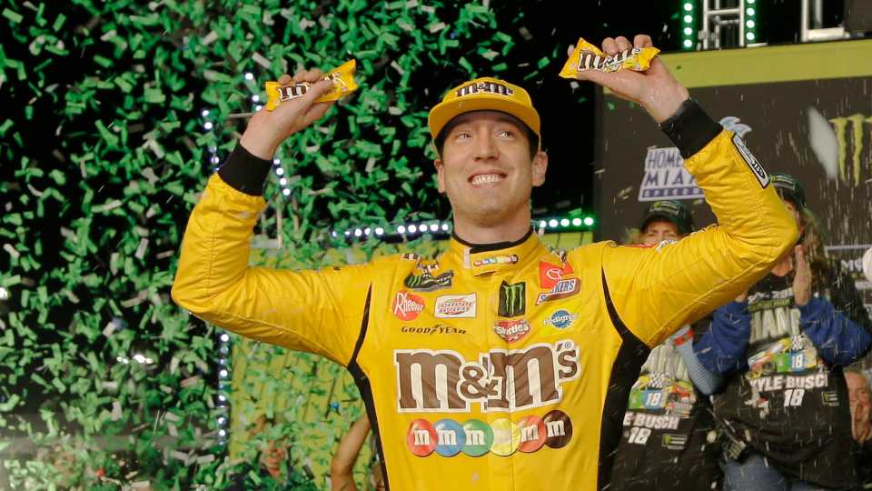 Kyle Busch celebrates in Victory Lane after winning a NASCAR Cup Series auto racing season championship on Sunday, Nov. 17, 2019, at Homestead-Miami Speedway in Homestead, Fla.