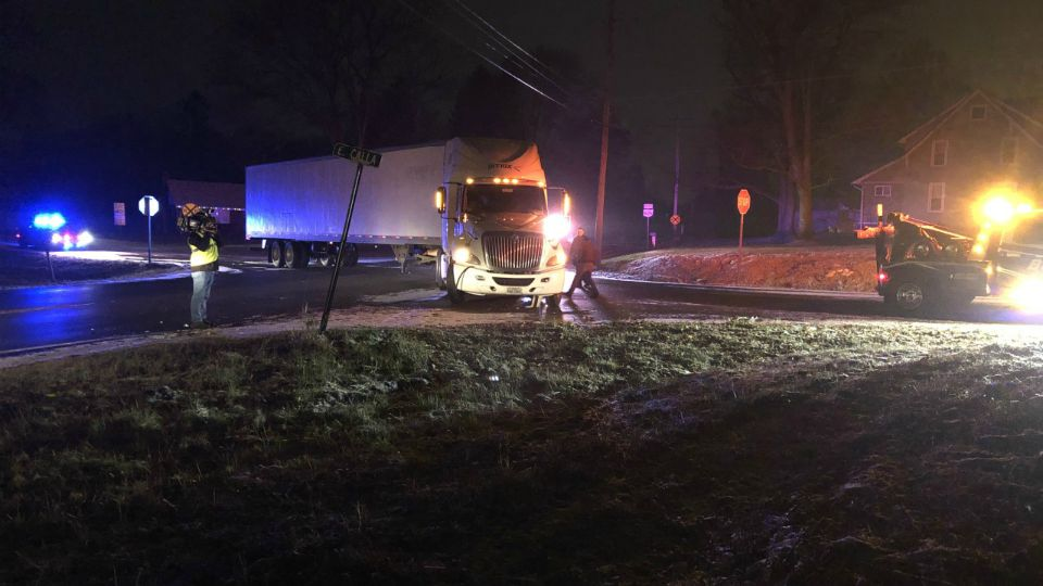 A semi and pickup truck collide in Beaver Twp., Ohio.
