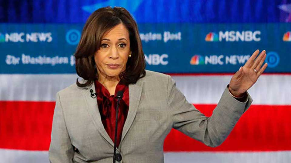 FILE - In this Nov. 20, 2019 file photo, Democratic presidential candidate Sen. Kamala Harris, D-Calif., speaks during a Democratic presidential primary debate in Atlanta.