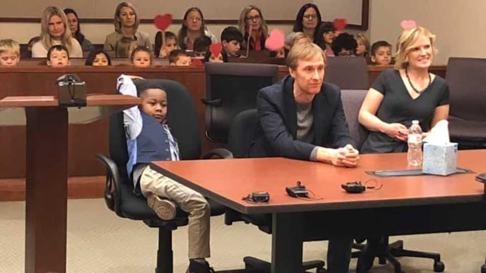 Michael brings his kindergarten class to his adoption in Kent County, Michigan