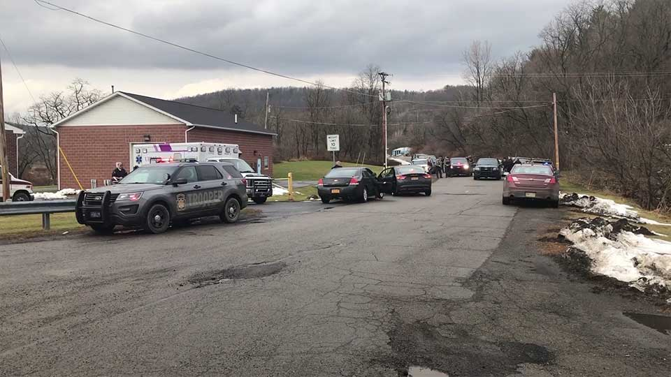 A Pennsylvania state trooper has been shot and wounded at a home in a rural area near the border with New York state.