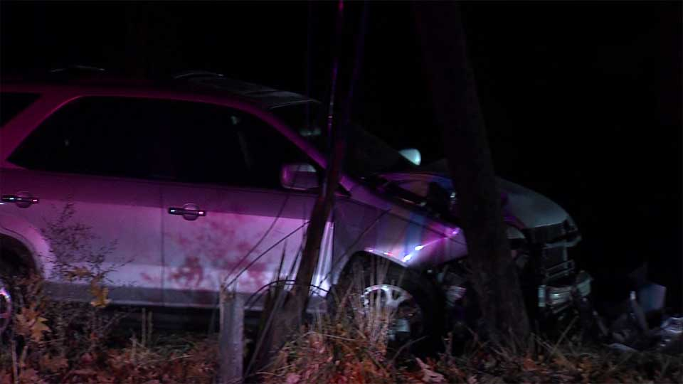 A single-car crash knocked down power lines on Youngstown's south side.