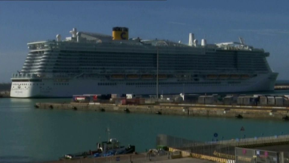A cruise ship is docked in Italy as two passengers are tested for coronavirus.