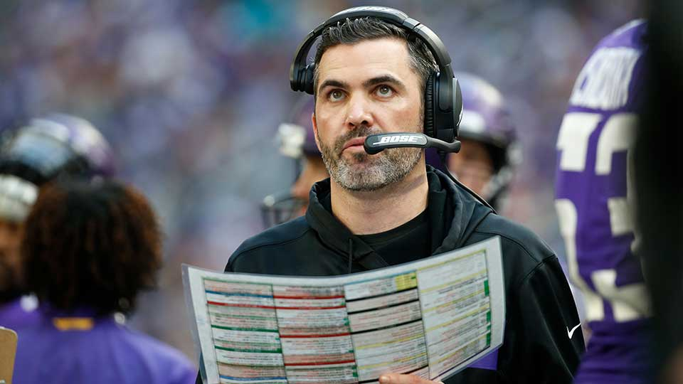 FILE - In this Sunday, Dec. 16, 2018 file photo, Minnesota Vikings interim offensive coordinator Kevin Stefanski watches from the sideline during the first half of an NFL football game against the Miami Dolphins in Minneapolis. The Minnesota Vikings have appointed Kevin Stefanski as offensive coordinator, after his interim stint over the last three games of the season. The 36-year-old Stefanski was promoted on Dec. 11 to replace John DeFilippo, who was fired in his first season on the job amid persistent struggles by the Vikings in moving the ball. Stefanski was a candidate for the head coach vacancy with the Cleveland Browns, who instead picked their own interim offensive coordinator Freddie Kitchens.