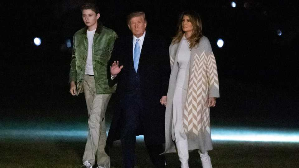 President Donald Trump with Melania and Barron