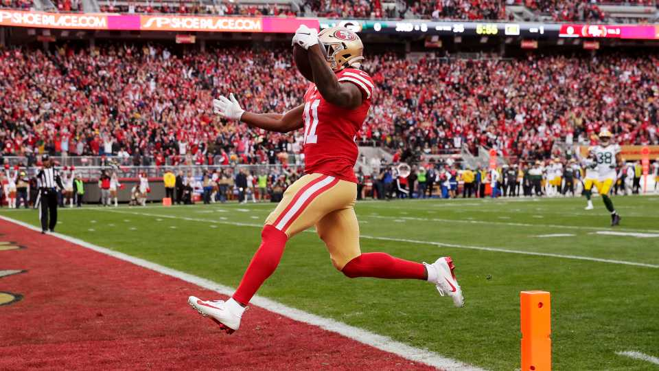 San Francisco 49ers running back Raheem Mostert celebrates after scoring against the Green Bay Packers during the first half of the NFL NFC Championship football game Sunday, Jan. 19, 2020, in Santa Clara, Calif.