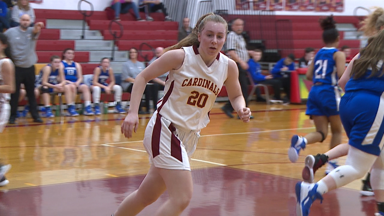 The Cardinals were led by Katie Hough with a game-high 14 points in Saturday's 53-22 victory over the Eagles.