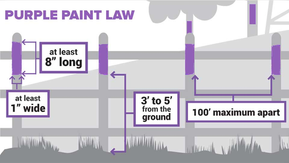 A new law in Pennsylvania may have people seeing purple. Landowners can now mark trees or posts with purple paint as a no trespassing notice.