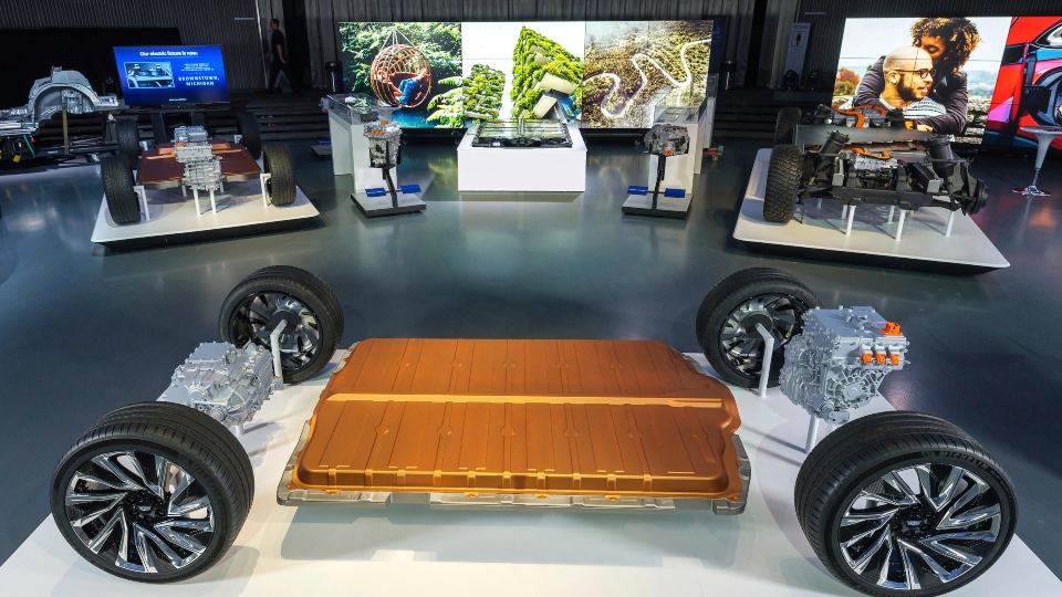 General Motors reveals its all-new modular platform and battery system, Ultium, Wednesday, March 4, 2020 at the Design Dome on the GM Tech Center campus in Warren, Michigan.
