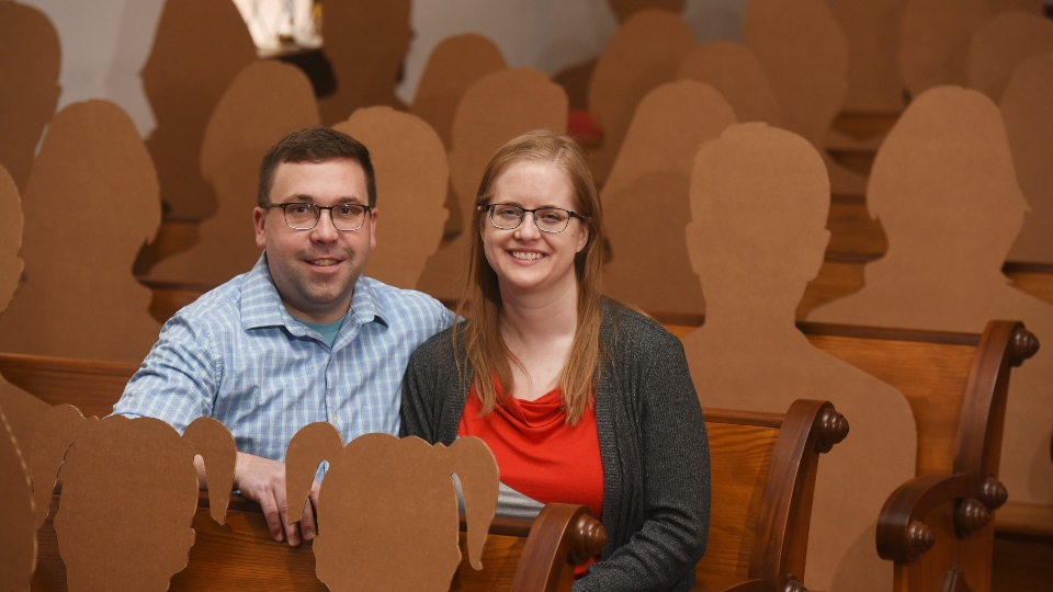 Cardboard cutouts pose as guests for wedding amid COVID-19.