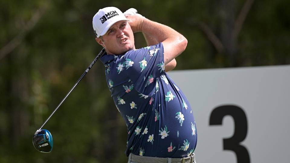 Jason Kokrak watches his tee shot on the third hole during the third round of the Workday Championship golf tournament Saturday, Feb. 27, 2021, in Bradenton, Fla.