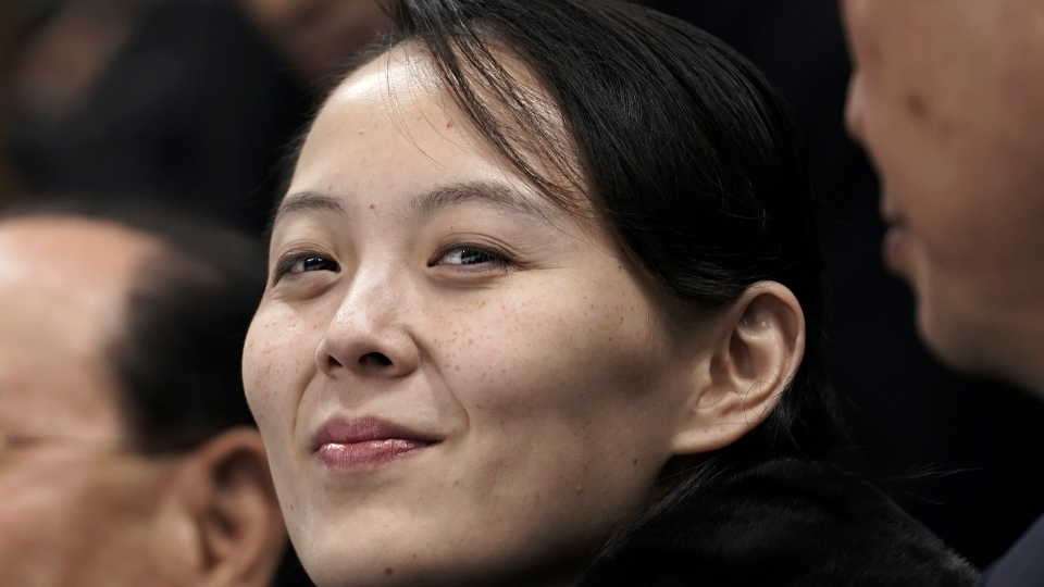 In this Feb. 10, 2018, file photo, Kim Yo Jong, sister of North Korean leader Kim Jong Un, waits for the start of the preliminary round of the women's hockey game between Switzerland and the combined Koreas at the 2018 Winter Olympics in Gangneung, South Korea.