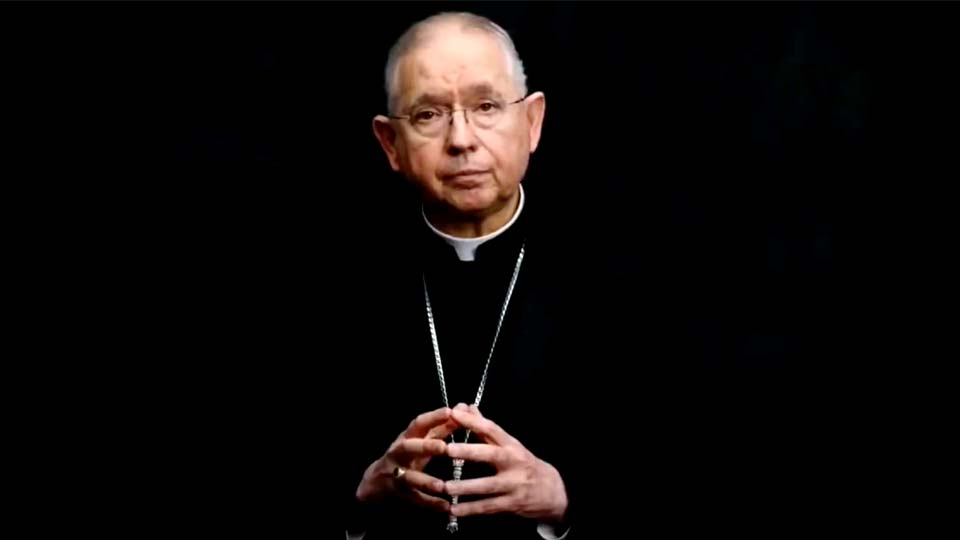 In this image taken from video, Archbishop José Gomez of Los Angeles, president of the U.S. Conference of Catholic Bishops, addresses the body's virtual assembly on Wednesday, June 16, 2021. (United States Conference of Catholic Bishops via AP)