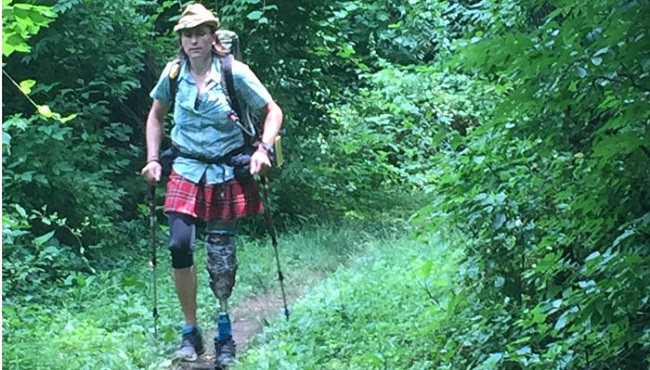 Female amputee attempting record-breaking hike of Appalachian Trail_10716